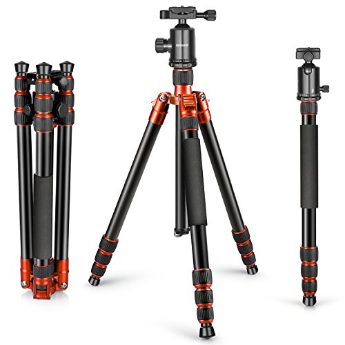 Neewer Aluminum Alloy 65 inches/165 centimeters Tripod Monopod,360 Degree Ball Head,1/4 inch Quick Shoe Plate and Bubble Level for DSLR Camera,Camcorder,Load up to 33 pounds/15 kilograms(Orange)