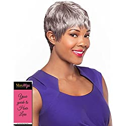 Audra Wig Color 1 Black - Foxy Silver Wigs Short Straight Pixie Full Bangs Synthetic African American Lightweight Average Cap Bundle w/MaxWigs Hairloss Booklet