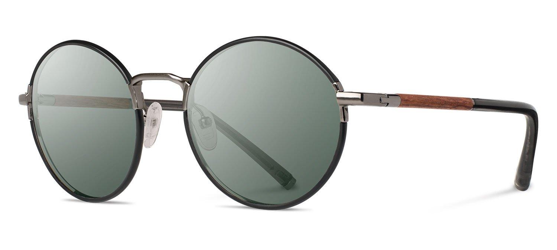 Shwood- Hawthorne Acetate, Sustainability Meets Style, Black Chrome/Mahogany, G15 Lenses