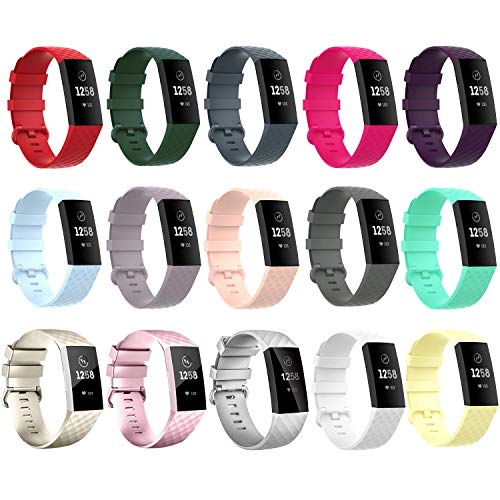 15 pcs Waterproof Bands for Fitbit Charge 3/ Fitbit Charge 4/ Charge3 SE, Replacement Wristbands for Women Men Small…