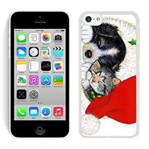 Custom Design Christmas Black Dog And Cat White Hard Shell Iphone 5c Plastic Phone Case