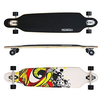 Longboard Hengda Ridge Street Cruiser Skateboard tabla de rodamientos de bolas ABEC board Longboard Grafitti Eye-Weiß: Amazon.es: Deportes y aire libre