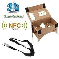 Zophor (TM) Lunettes 3D en carton Verres Google réalité virtuelle avec NFC avec étiquette pour écran 12,7cm + ceinture sangle de tête réglable
