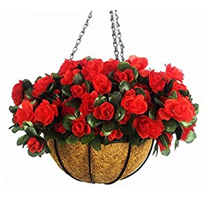 Mynse Hanging Silk Flower Baket Balcony Home Deccoration Flower Hanging Basket Azalea Artificial 96