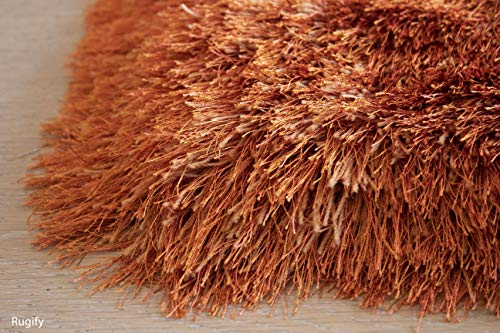 LA Plush Fluffy Shag Shaggy Large Thick Furry Fuzzy Rectangle Furry Pile Soft Shimmer Patterned Contemporary 5-Feet-by-7-Feet Polyester Made Area Rug Carpet Rug Orange Rust Color