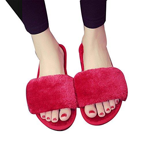TELLW Damen Baumwolle Schuhe Dicke Bottom Winter Zuhause Innen Wald Fußboden Plüsch Hausschuhe Red