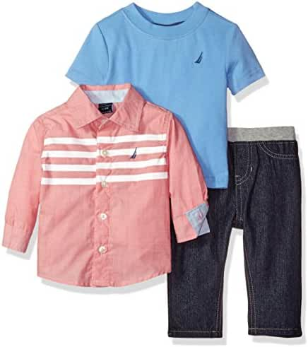 Nautica Baby Boys' Three Piece Set with Long Sleeve Check Woven Shirt, Tee and Pant