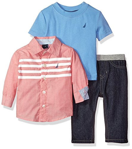 nautica-baby-boys-long-button-down-shirt-with-short-sleeve-tee-and-pull-on-denim-pant-set-coral-24-m
