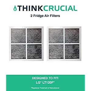 2 LG LT120F Air Purifying Fridge Filters, Part # ADQ73334008 & ADQ73214404, by Think Crucial