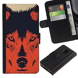 KingStore / Leather Etui en cuir / Samsung Galaxy S5 V SM-G900 / Perro Evil Devil Hund Shepard rojo impresiones
