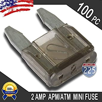 amazon com: 100 pack 2 amp apm/atm 32v mini blade style fuses 2a short  circuit protection car fuse: industrial & scientific