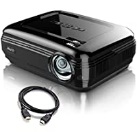Video Projector PRAVETTE 1080P LED LCD Mini Projector with +20% Lumens 200 Projection Screen Home Theater Portable Projector Support HDMI/USB/AV/Phone/PC/TV/Laptop/Camera (Jet Black)