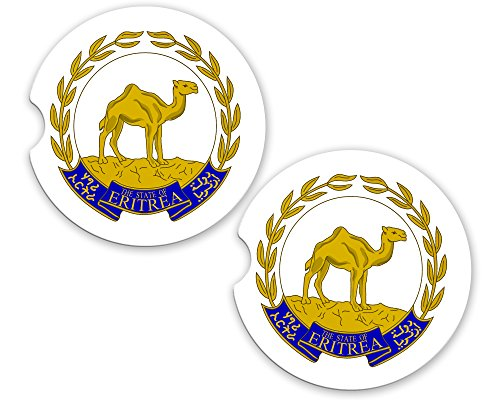 (Eritrea World Flag Coat Of Arms Sandstone Car Cup Holder Matching Coaster)