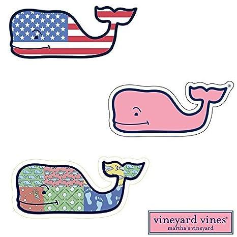 3x Vineyard Vines Whale Vinyl Stickers American Flag Patchwork Classic Pink Preppy 2 0 X 4 5