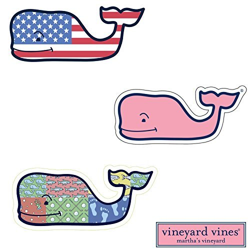 Preppy School Supplies (3X VINEYARD VINES Whale Vinyl Stickers - American Flag, Patchwork, Classic Pink - PREPPY 2.0 x)