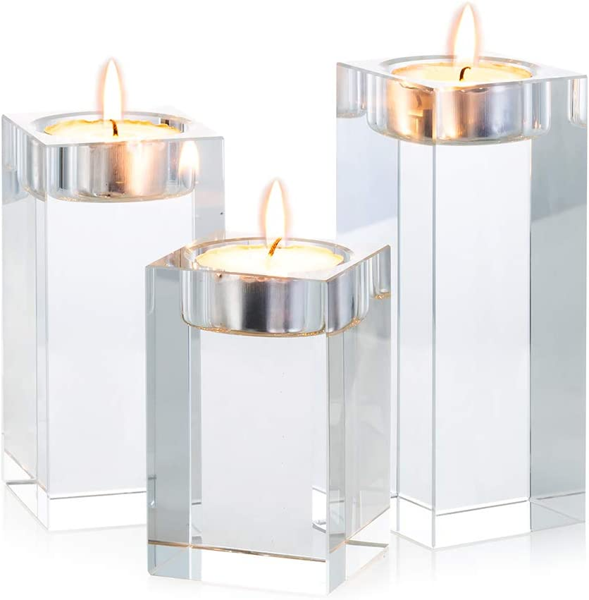 Sziqiqi 3 Piece Crystal Glass Candle Holder Set Crystal Candlelight Dinner Candle Holder Creative Ornament For Home Dining Table And Bar Square Amazon Co Uk Kitchen Home