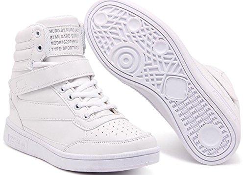 Wedges Sneakers for Women White, Platform High Heel Hightop Walking Sneakers Fashion