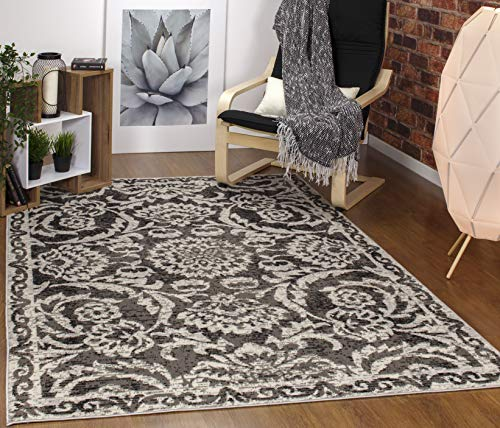 Black Floral Rug - Antep Rugs Kashan King Collection Floral Polypropylene Indoor Area Rug (Grey/Black, 5' x 7')