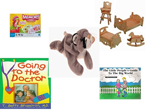 (Children's Gift Bundle - Ages 3-5 [5 Piece] - Strawberry Shortcake Edition Memory Game - 3-D Wooden Puzzle Dollhouse Bedroom Furniture Set Toy - Ty Beanie Baby - Canyon The Cougar - Going to The Doc)