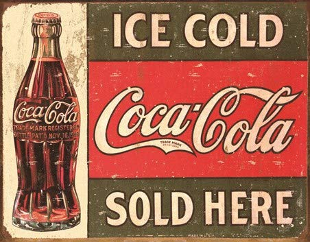 KPSheng Coke Vintage Sold Here Tin Sign(12 x 16)