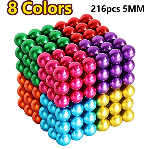 (RITONS Upgraded 5MM 216 Pieces Magnets Sculpture Building Blocks Toys for Intelligence Learning -Office Toy & Stress Relief for Adults (8 Colors))