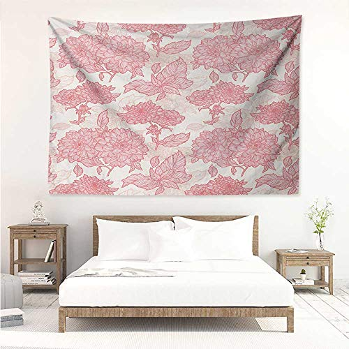 alisos Flowers,Bedding Tapestry Gardening Plants Theme Dahlias Flowers and Leaves Illustration Romantic Design Print 84W x 70L Inch Bedspread Picnic Pink ()