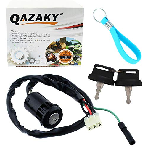 QAZAKY Ignition Key Switch Replacement for ATV TRX200 TRX200D 1991-1997 TRX250 1997-2001 TRX250EX 2001-2008 TRX250TE TRX250TM 2002-2017 TRX250X TRX400EX FourTrax Recon Sportrax 200 250 400 - Parts Replacement Atv