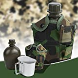 Finlon Army Stainless Steel Military Canteen with Cup & Green Nylon Cover Portable for Camping/Hiking