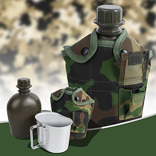 Finlon Army Stainless Steel Military Canteen with Cup & Green Nylon Cover Portable for ()