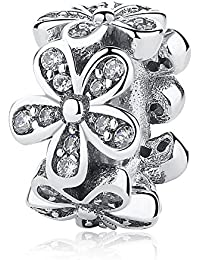 Women Charms Sterling Silver Flower Charm Beads Love Daisy Charms for Bracelet Necklace European Charms