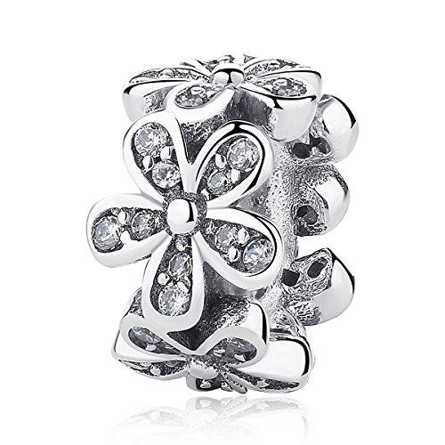 Enamel Sterling Silver Flower Beads - BAMOER 925 Sterling Silver Various Dazzling CZ Bead Charm For Women Snake Bracelet Charm (Daisy)