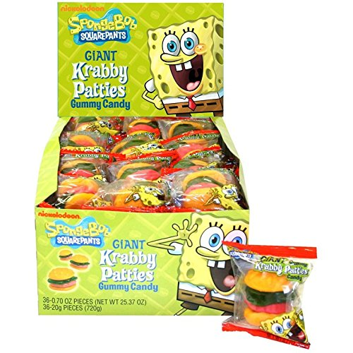 Spongebob Squarepants Giant Krabby Patties Gummy Candy (Pack of 36)