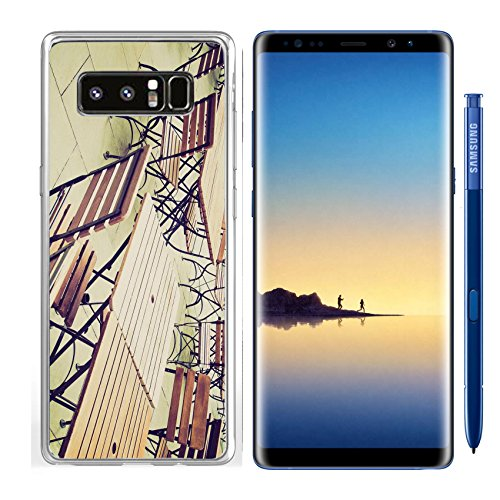 (Luxlady Samsung Galaxy Note8 Clear case Soft TPU Rubber Silicone IMAGE ID 27620877 Vintage looking Tables and chairs of a dehors alfresco bar restaurant pub)