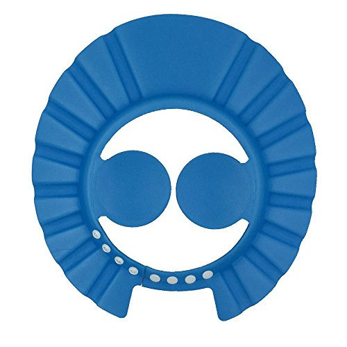 FRIENDLY Baby Shower Cap with Ear Protection Pads Comfortable Adjustable Soft Shampoo Shower Bathing Cap for Baby Children Kids (Blue)