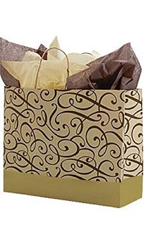 Large Chocolate & Gold Swirl Paper Shopping Bags - Case of 100 by STORE001