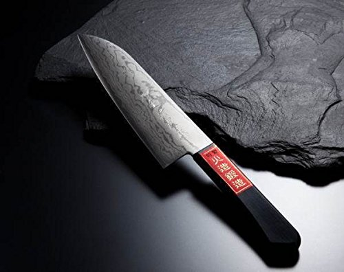 HONMAMON ''SHIGEHIRO SPECIAL'', Santoku Hocho (All-Purpose Kitchen Knife) 170mm (abt 6.7 Inch), Blade Edge : VG10, Damascus Pattern, Double Bevel by HONMAMON