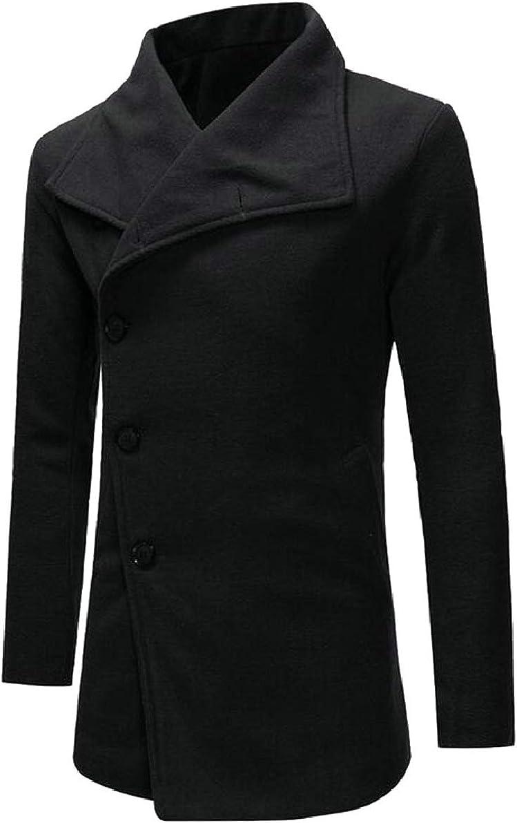 ONTBYB Mens Wool Trench Coats Winter Warm Plain Jacket Overcoat Outwear