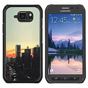 LECELL--Funda protectora / Cubierta / Piel For Samsung Galaxy S6Active Active G890A -- Vista de la ciudad de noche de la puesta del sol --