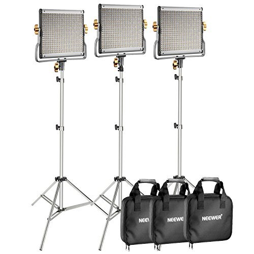 - Neewer 3-Pack 480 LED Video Light with 78.7-inch Stainless Steel Light Stand Kit: Dimmable Bi-color LED Panel with U Bracket (3200-5600K,CRI 96+) for Photo Studio Portrait, YouTube Video Photography