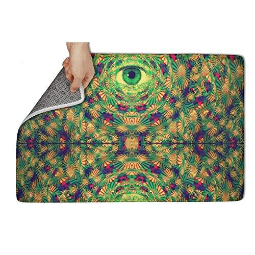 Hugging Bag Bean (Gaaskelled Large Indoor/Outdoor Doormat,Psychedelic Trippy Green Eyes Non Slip Duty Front Entrance Door Mat Rug,Easy Clean Door Mat (31