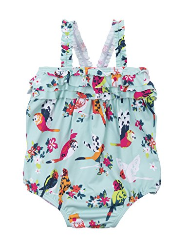 Hatley Girls' Baby Ruffle Swimsuit, Tropical Birds, 18-24M