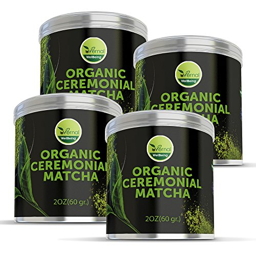 4 Pack uVernal WellBeing Organic Ceremonial Matcha - Best Taste - USDA Organic -Energy Booster - Green Tea Powder 2oz by uVernal WellBeing