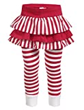 Arshiner Child Kids Girl Striped Leggings Long Ruffle Dress Pants,Red,140(Age for 6-7Y)