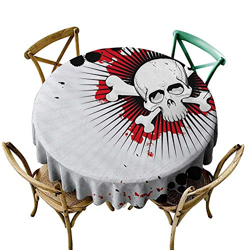 Wendell Joshua Black Tablecloth 39 inch Halloween,Skull with Crossed Bones Over Grunge Background Evil Scary Horror Graphic,Pearl Red Black Great for Buffet Table, Parties, Holiday Dinner & -