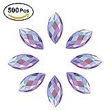 Yosoo 500Pcs In Bulk 7X15mm Crystal AB Acrylic Flatback Rhinestones Eye Shaped Diamond Beads For DIY Crafts Handicrafts Clothes Bag Shoes Wholesale, Purple AB