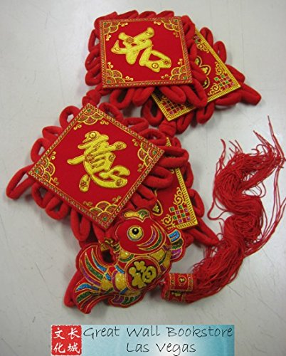 Chinese New Year Decorative Good Luck Hanging w/Chinese Charaters ''Prosperity and Everything as you Wish'' size 36'' Long (measured from top to bottom excluding tassels) by Great Wall Bookstore, Las Vegas