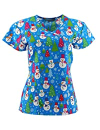 Zikit NY Christmas Scrub Tops Holiday Prints Sizes XS-4XL Medical Nursing NWT
