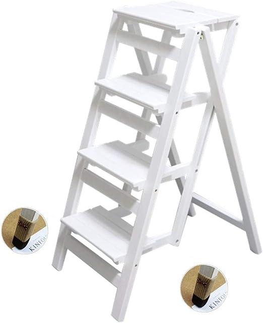 Madera sólida Taburete de Paso 4 Paso Escalera Plegable Multiuso Escalera Plataforma de elevación del hogar Engrosamiento de la Etapa de Escalera Escaleras de Madera Taburete: Amazon.es: Hogar