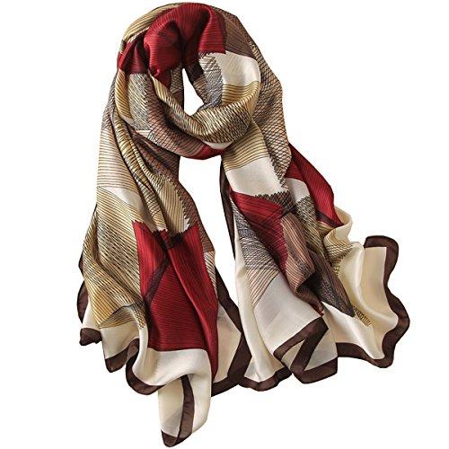 Fonshow Silk Scarf 100% Mulberry Silk Fashion Scarves Long Lightweight Shawl Wrap (6725) -
