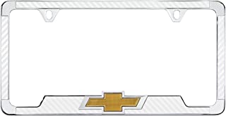 product image for Chevy 3D Bowtie Carbon Fiber Vinyl Inlay License Plate Frame (White)